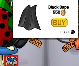 Right blue for black cape